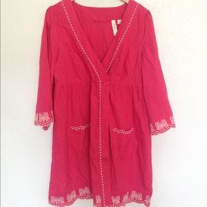 Anthropologie Hot Pink Kimono Tunic Shirt Dress